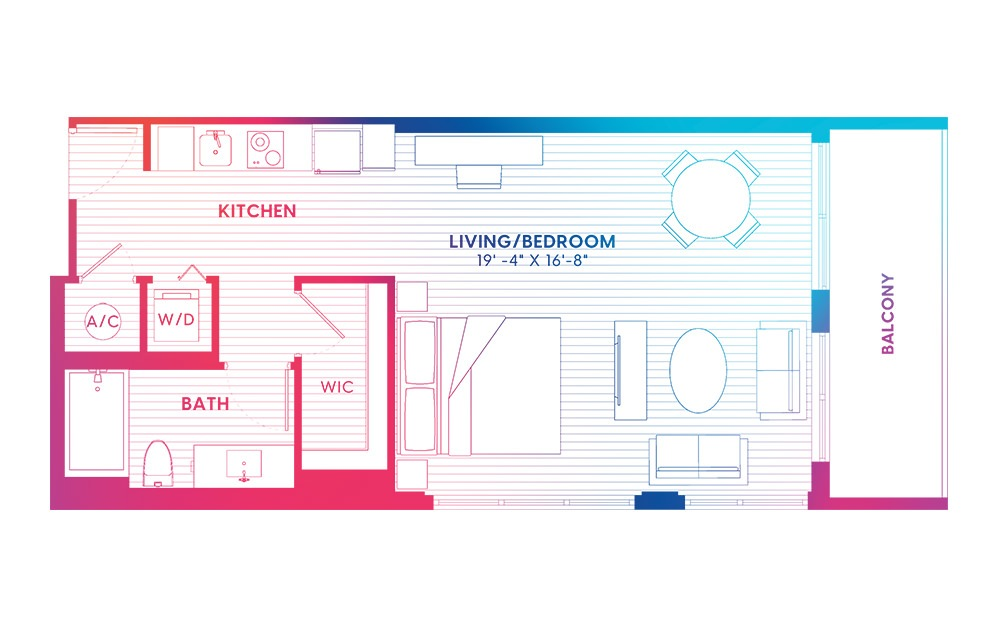 S6-S - Studio floorplan layout with 1 bath and 688 square feet.