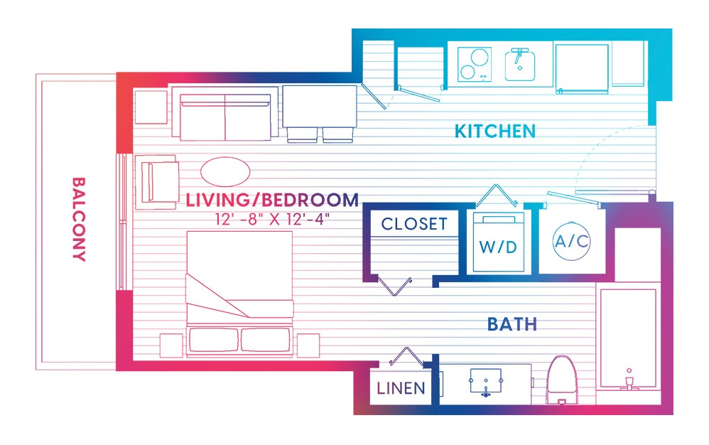 S5-S - Studio floorplan layout with 1 bath and 447 square feet.