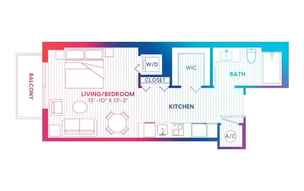 S4-S - Studio floorplan layout with 1 bath and 430 square feet.