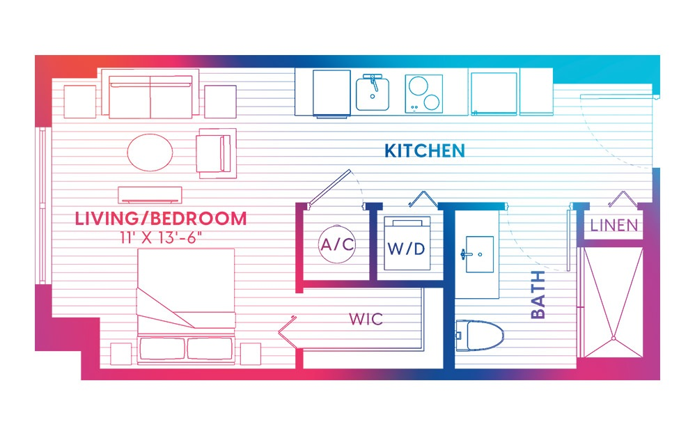 S1-S - Studio floorplan layout with 1 bath and 405 square feet.