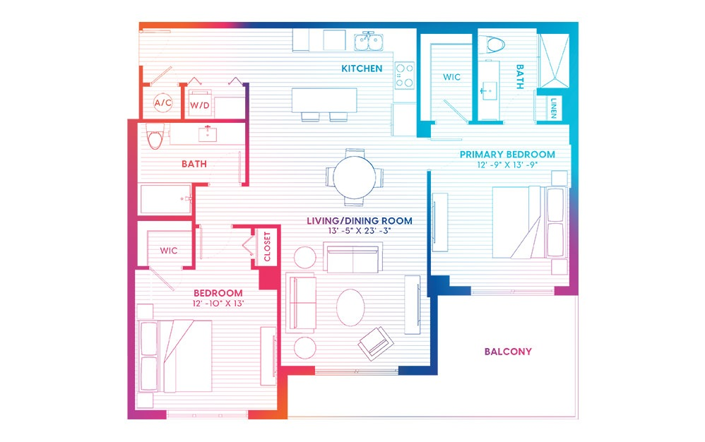 B9-S - 2 bedroom floorplan layout with 2 baths and 1285 square feet.