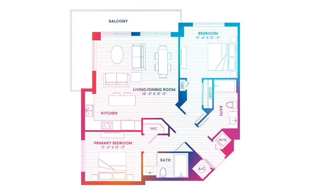 B7-S - 2 bedroom floorplan layout with 2 baths and 1148 square feet.