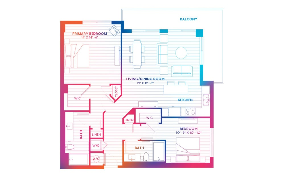 B6-S - 2 bedroom floorplan layout with 2 baths and 1150 square feet.