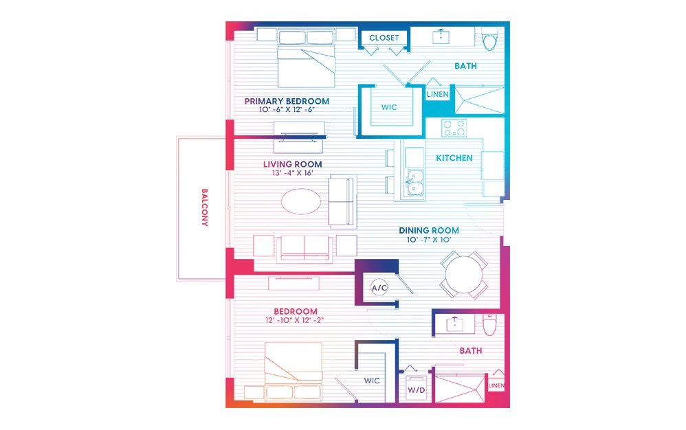 B4-S - 2 bedroom floorplan layout with 2 baths and 1100 square feet.