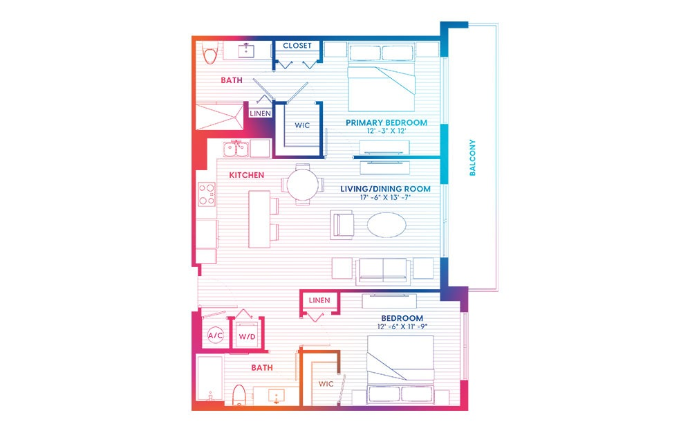 B3-S - 2 bedroom floorplan layout with 2 baths and 1061 square feet.