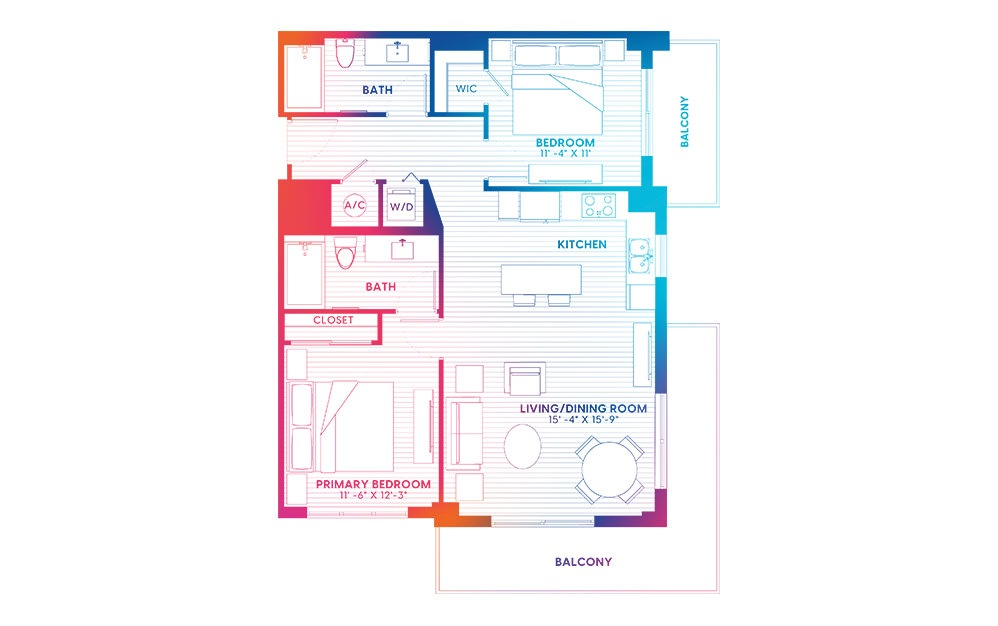 B2-S - 2 bedroom floorplan layout with 2 baths and 1045 square feet.
