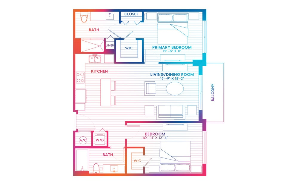 B1-S - 2 bedroom floorplan layout with 2 baths and 1026 square feet.