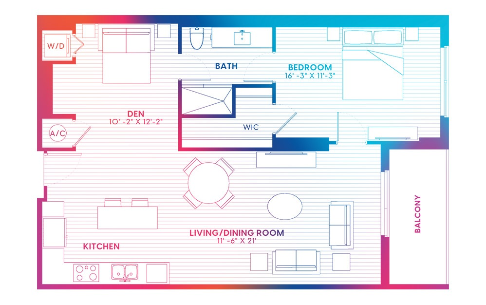 A3-S - 1 bedroom floorplan layout with 1 bath and 916 square feet.
