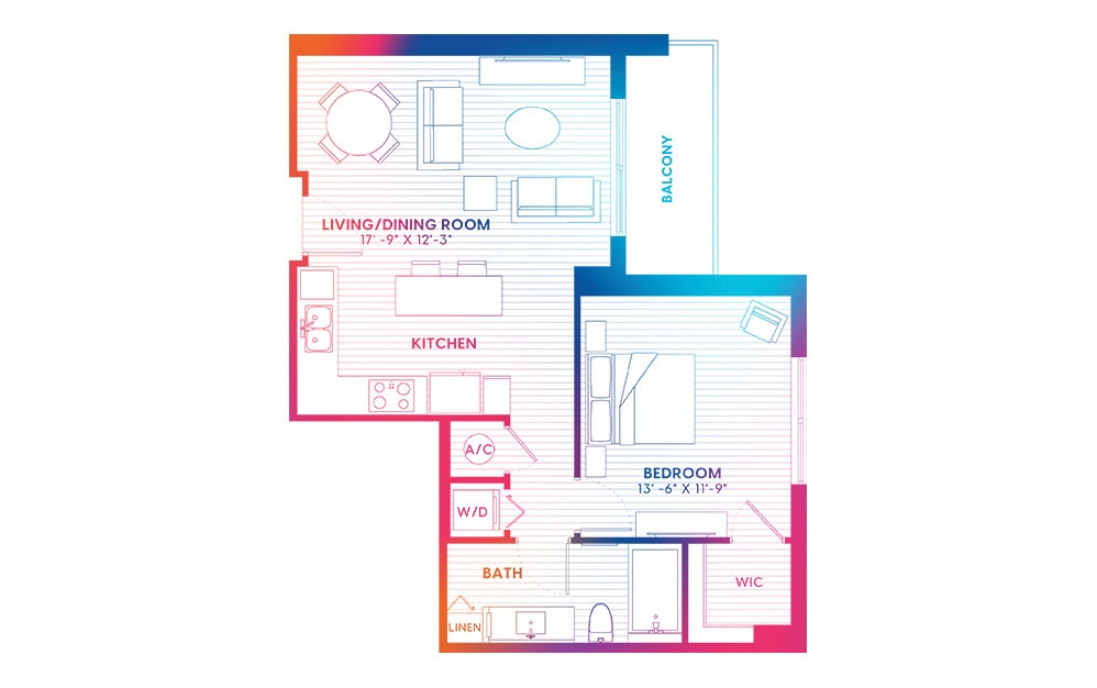 A1-S - 1 bedroom floorplan layout with 1 bath and 732 square feet.