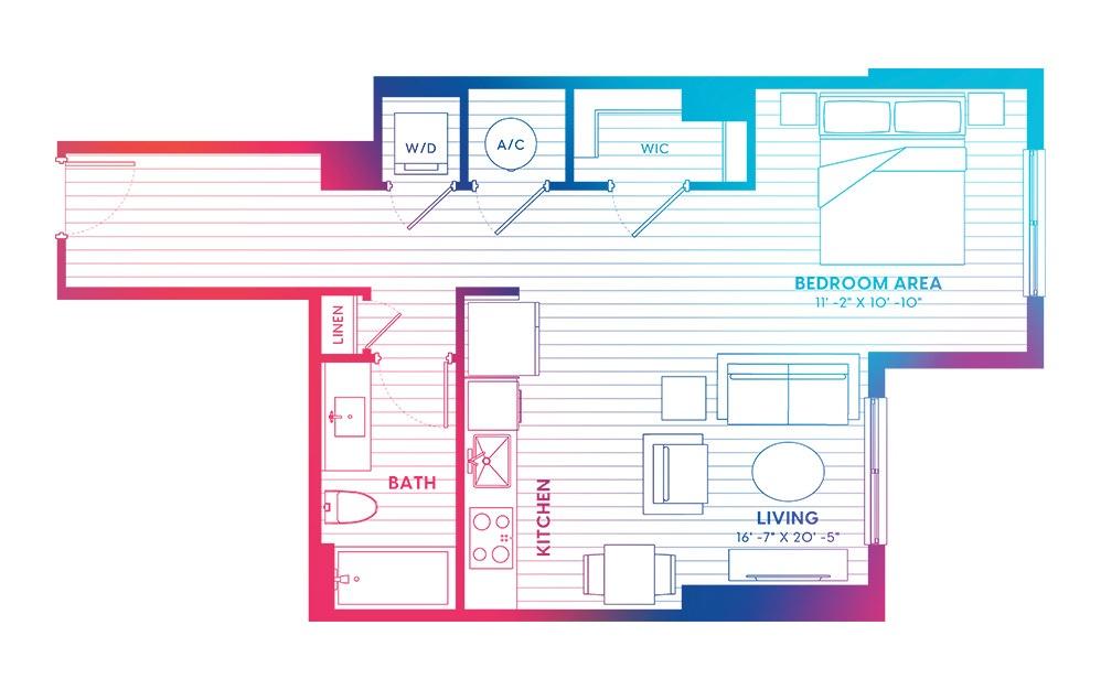 S3-N - Studio floorplan layout with 1 bath and 640 square feet.
