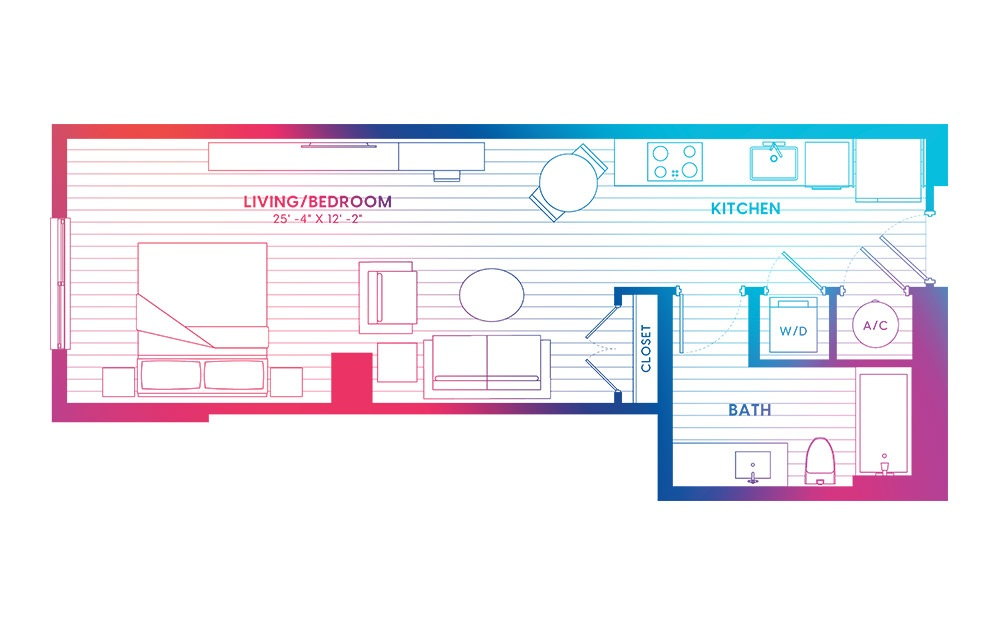 S2-N - Studio floorplan layout with 1 bath and 560 square feet.