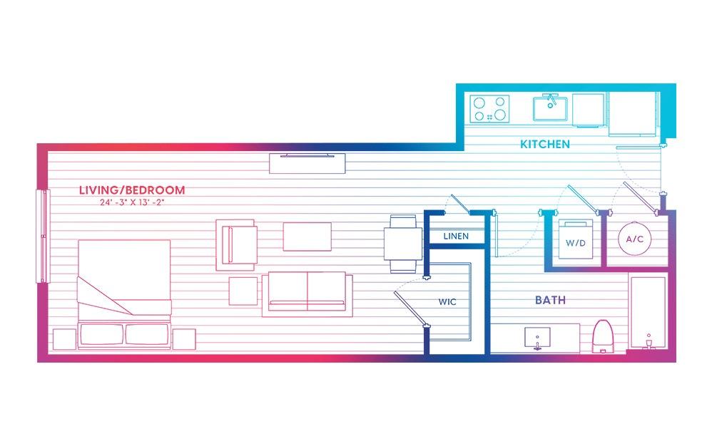 S1-N - Studio floorplan layout with 1 bath and 595 square feet.