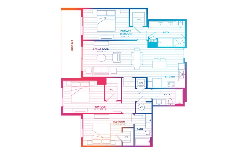 C1-N - 3 bedroom floorplan layout with 3 baths and 1430 square feet.