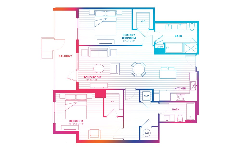 B9-N - 2 bedroom floorplan layout with 2 baths and 1257 square feet.
