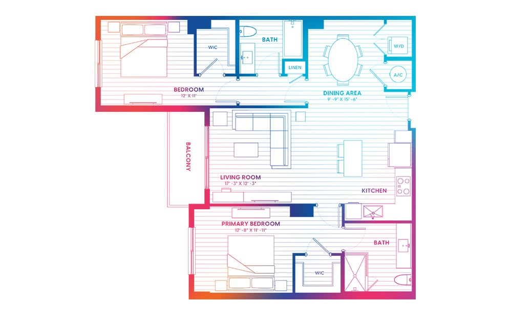 B7-N - 2 bedroom floorplan layout with 2 baths and 1149 square feet.