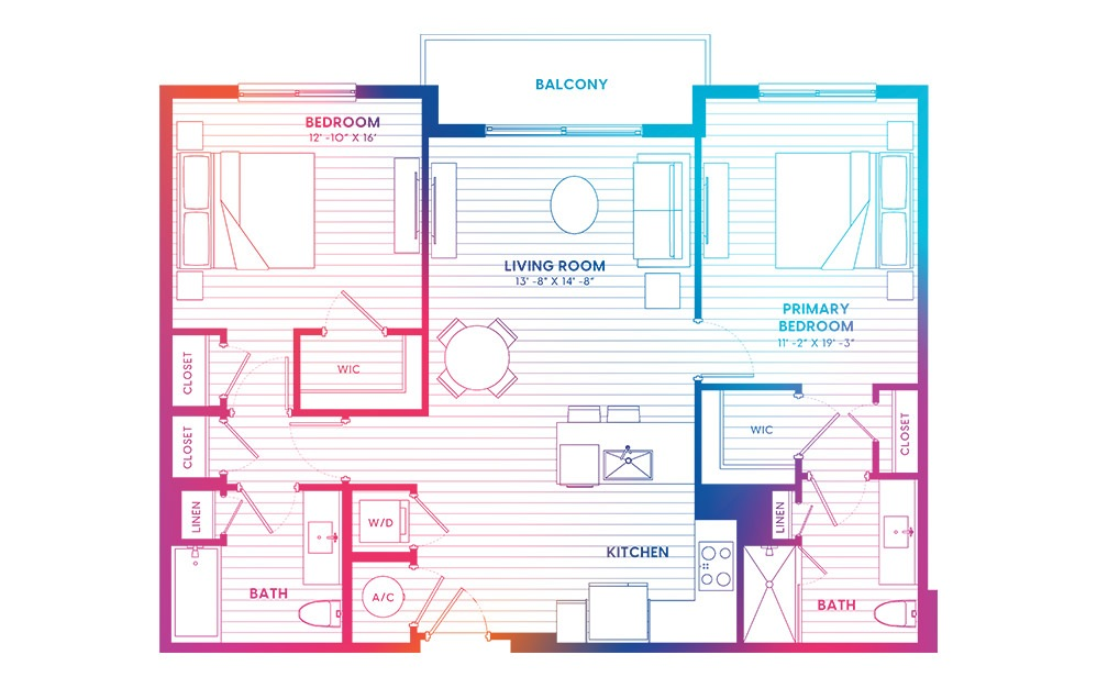 B6A-N - 2 bedroom floorplan layout with 2 baths and 1095 square feet.