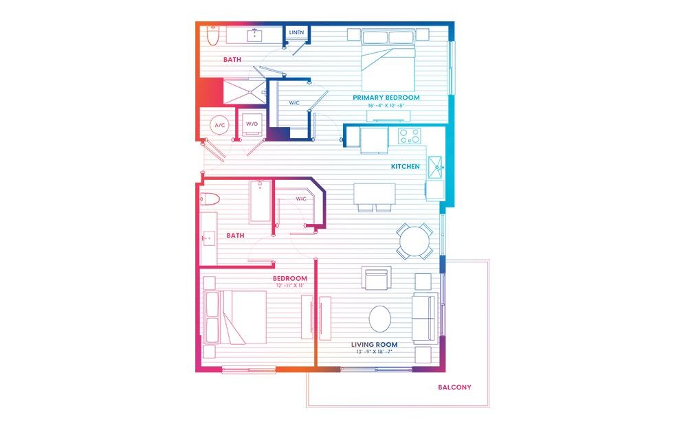 B3-N - 2 bedroom floorplan layout with 2 baths and 1114 square feet.