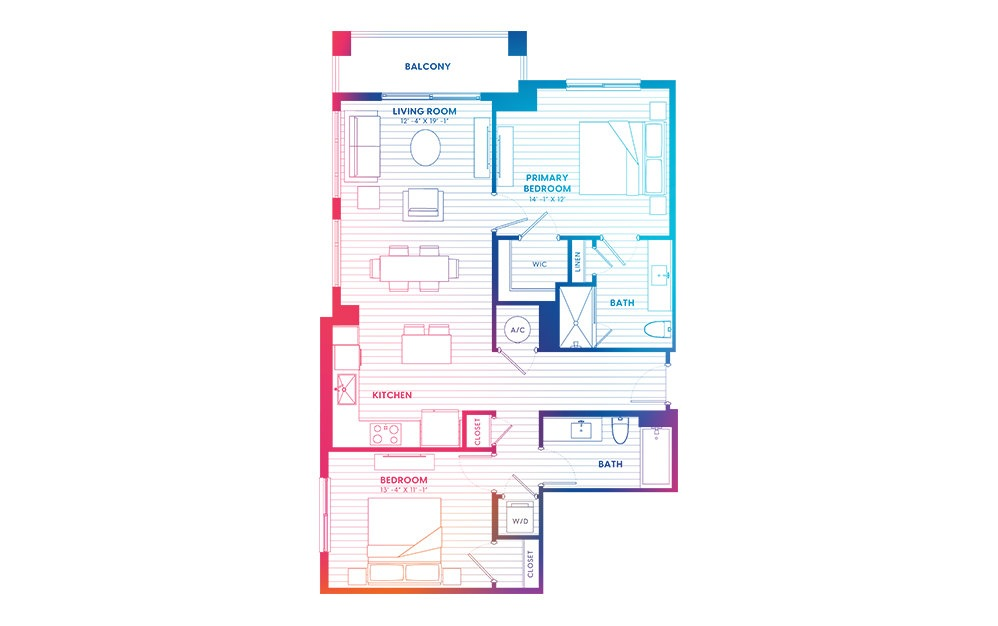 B2-N - 2 bedroom floorplan layout with 2 baths and 1080 square feet.