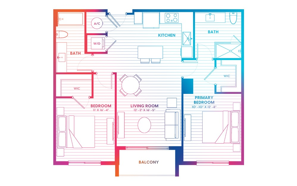B1A-N - 2 bedroom floorplan layout with 2 baths and 982 square feet.