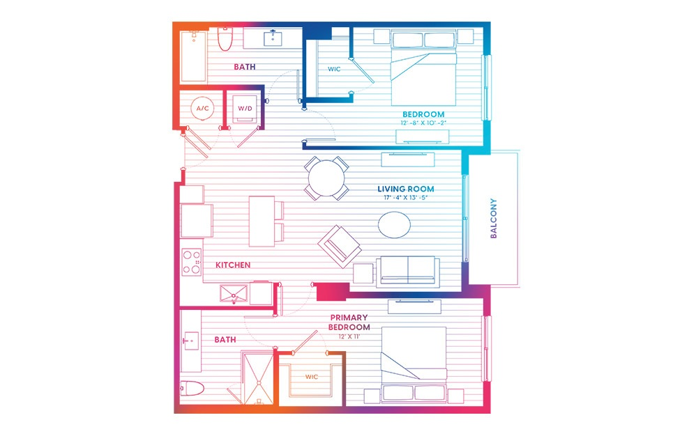 B1-N - 2 bedroom floorplan layout with 2 baths and 1005 square feet.