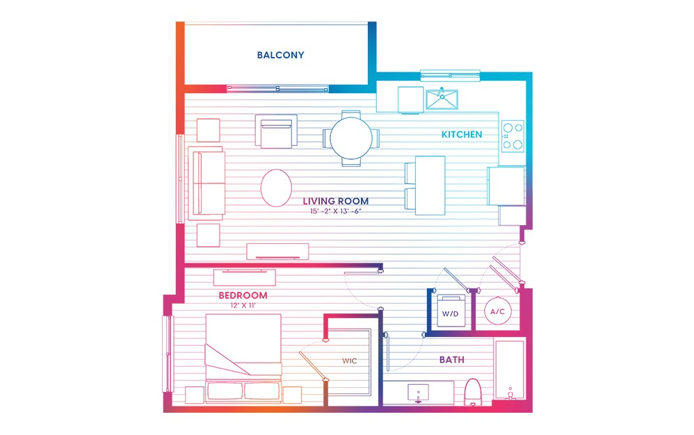 A7-N - 1 bedroom floorplan layout with 1 bath and 725 square feet.