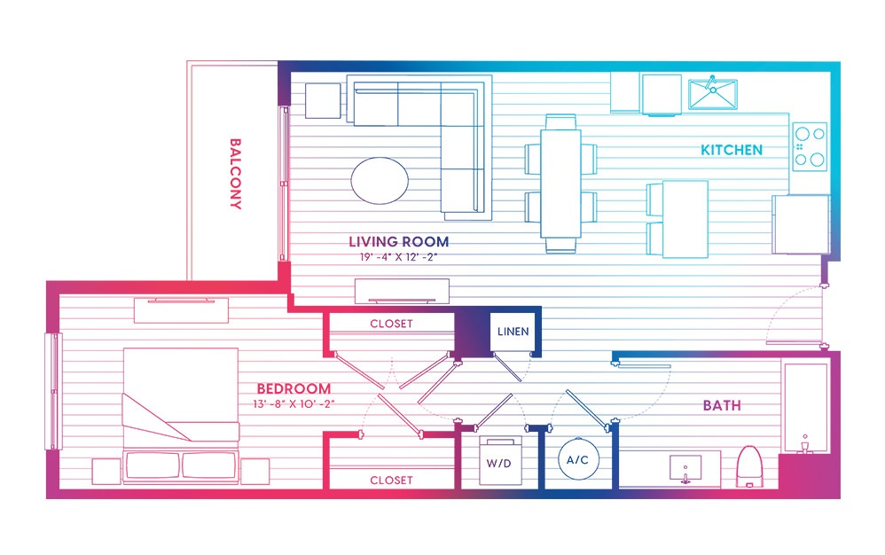 A6-N - 1 bedroom floorplan layout with 1 bath and 760 square feet.