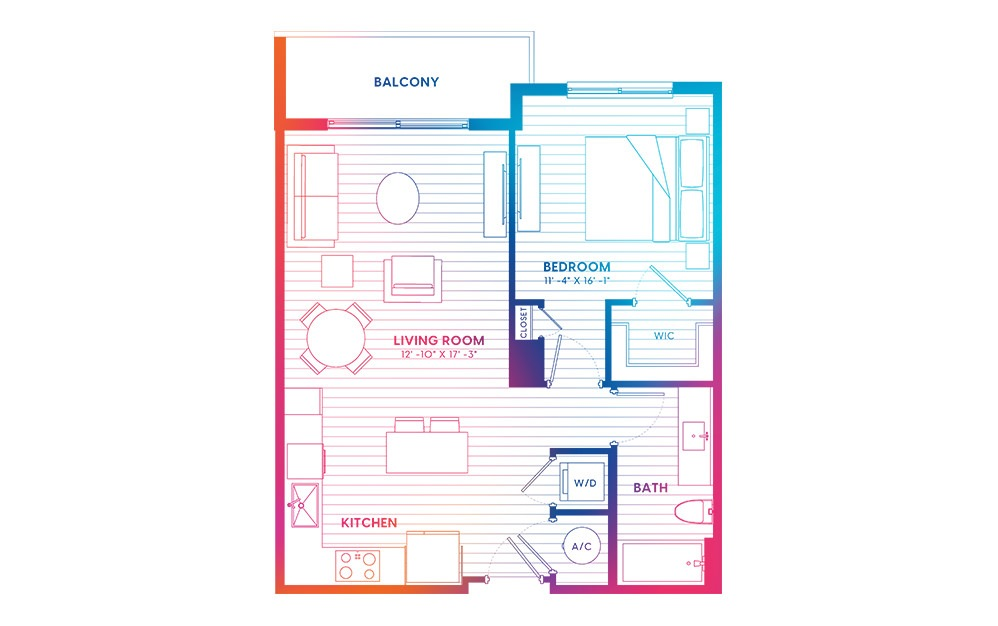 A2A-N - 1 bedroom floorplan layout with 1 bath and 700 square feet.