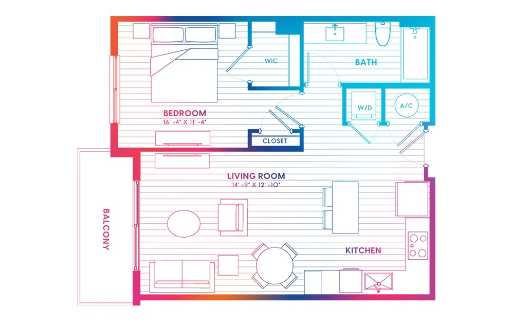 A2-N - 1 bedroom floorplan layout with 1 bath and 700 square feet.