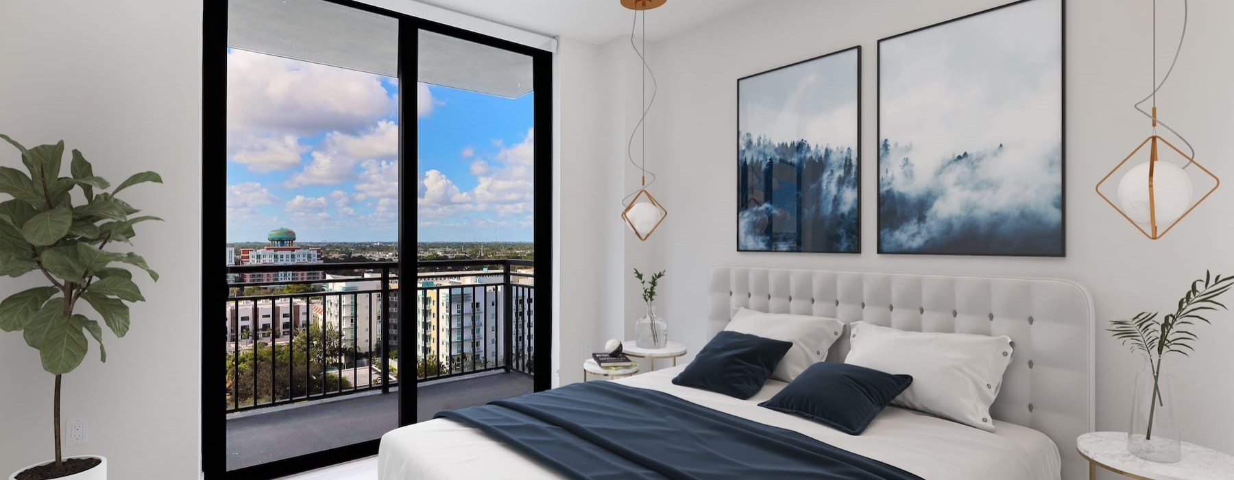 rendering of bedroom with large windows and open spaces