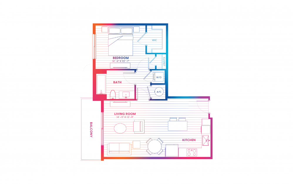 A1-N - 1 bedroom floorplan layout with 1 bath and 715 square feet.