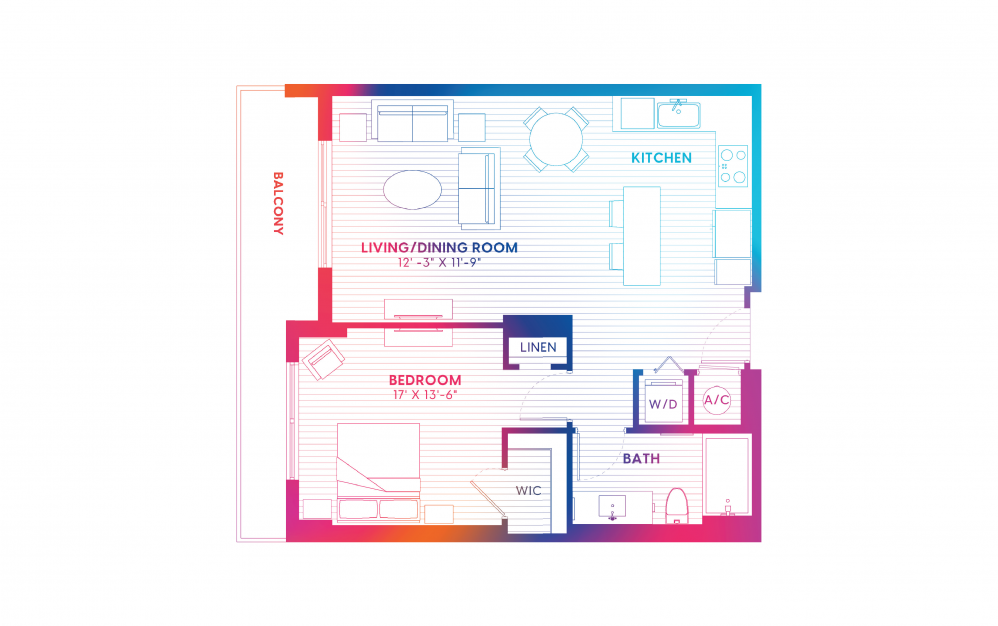 A2-S - 1 bedroom floorplan layout with 1 bath and 742 square feet.