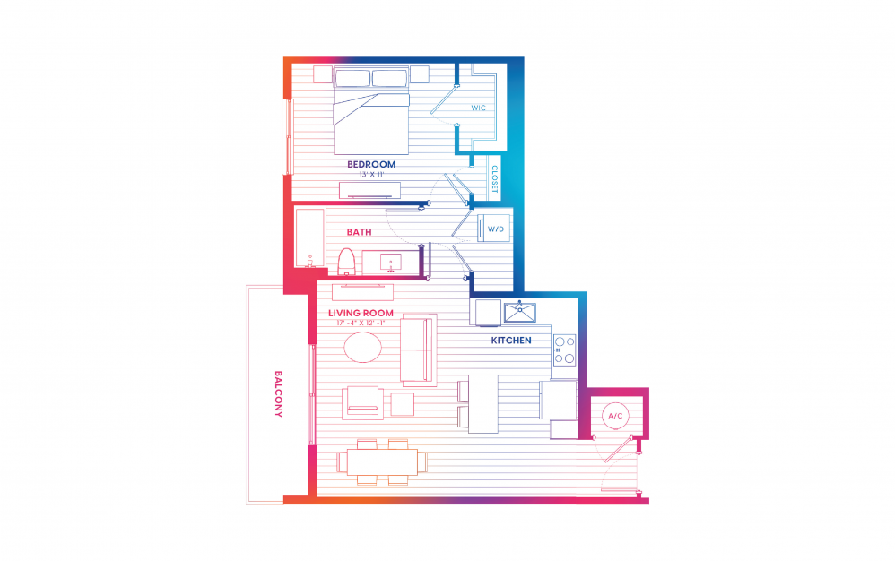 A3-N - 1 bedroom floorplan layout with 1 bath and 745 square feet.