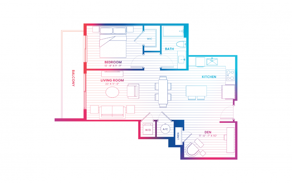 A4-N - 1 bedroom floorplan layout with 1 bath and 800 square feet.