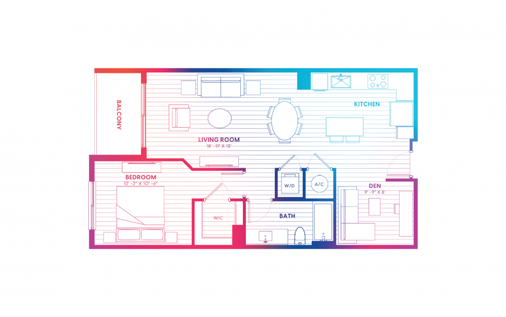 A5-N - 1 bedroom floorplan layout with 1 bath and 830 square feet.