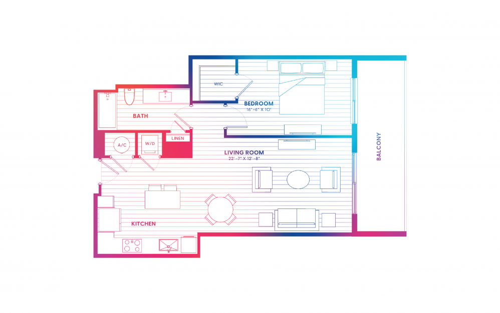 A8-N - 1 bedroom floorplan layout with 1 bath and 795 square feet.