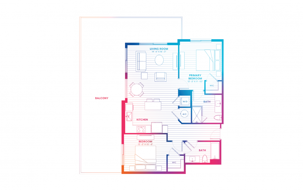 B10-N - 2 bedroom floorplan layout with 2 baths and 1034 square feet.