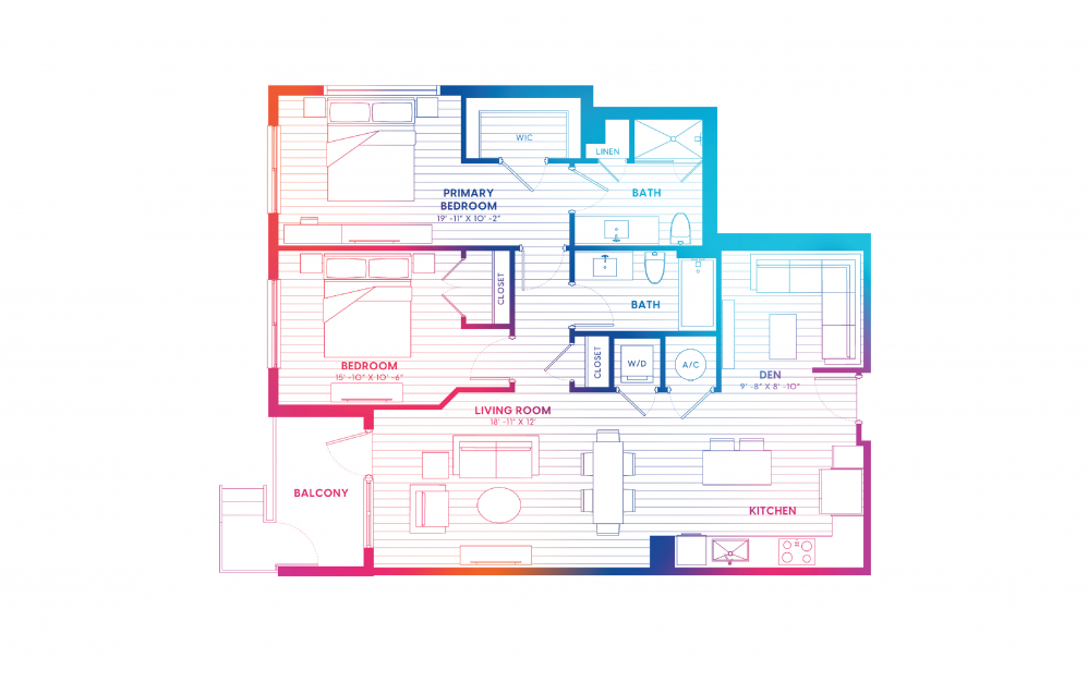 B11-N - 2 bedroom floorplan layout with 2 baths and 1147 square feet.
