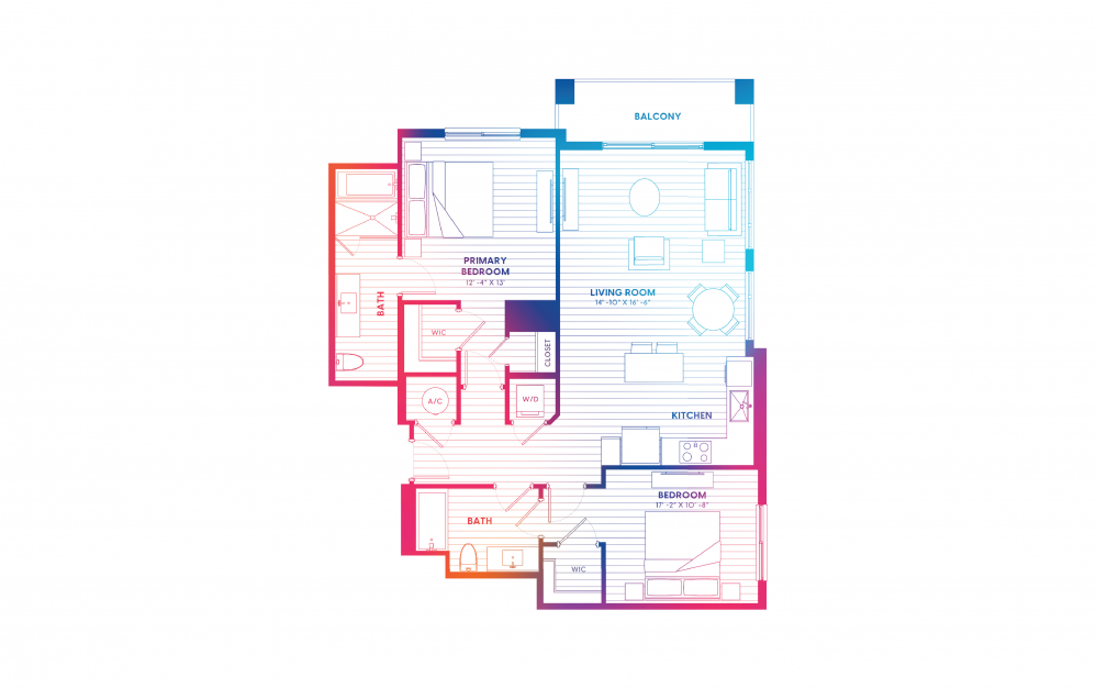 B4-N - 2 bedroom floorplan layout with 2 baths and 1136 square feet.