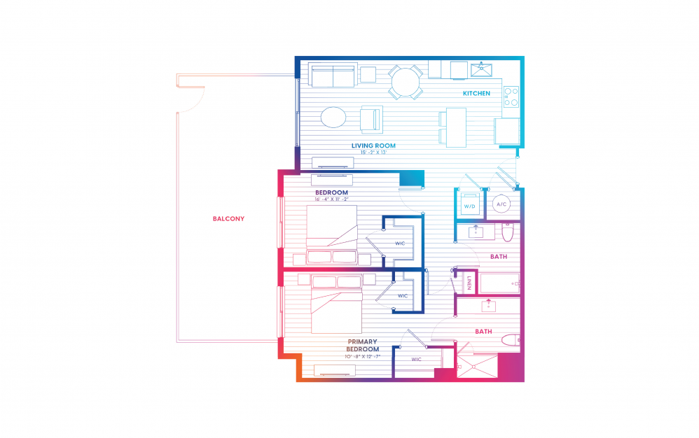 B5-N - 2 bedroom floorplan layout with 2 baths and 1075 square feet.