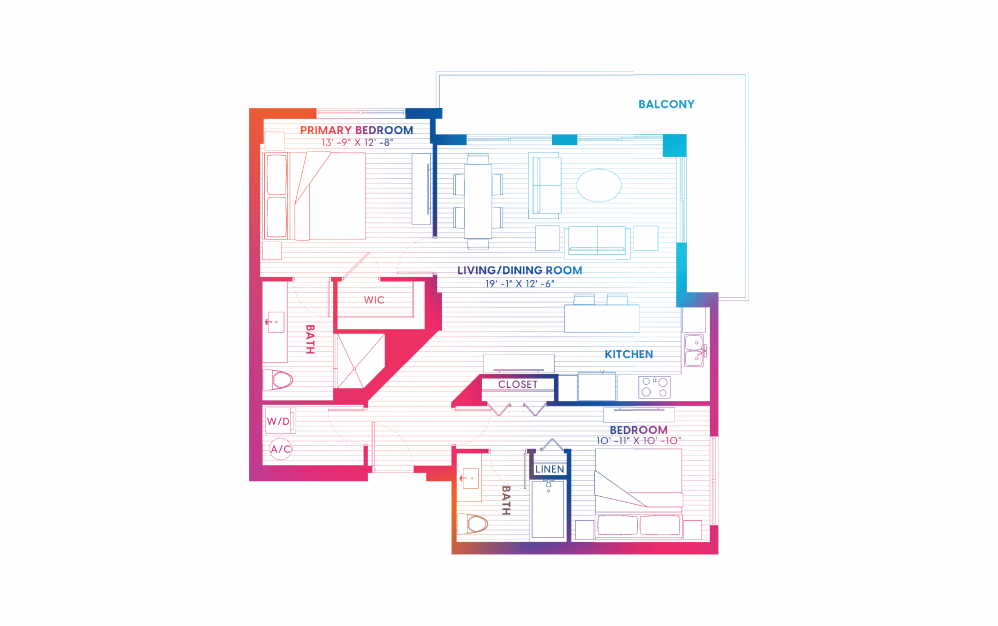 B5-S - 2 bedroom floorplan layout with 2 baths and 1134 square feet.