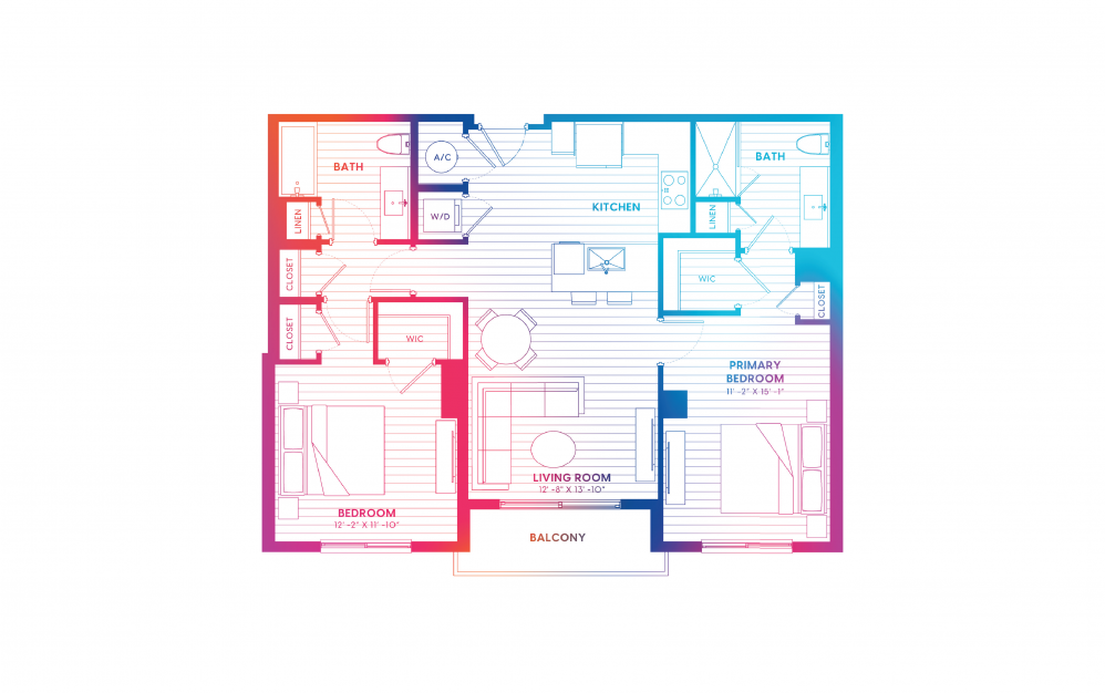 B6-N - 2 bedroom floorplan layout with 2 baths and 1065 square feet.