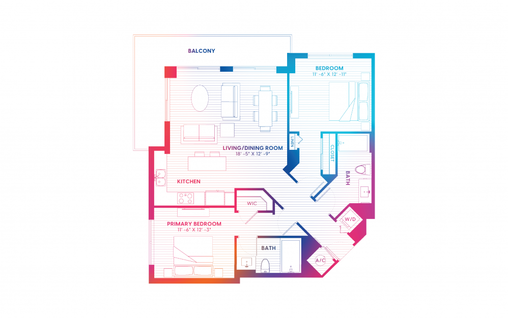 B7-S - 2 bedroom floorplan layout with 2 baths and 1152 square feet.