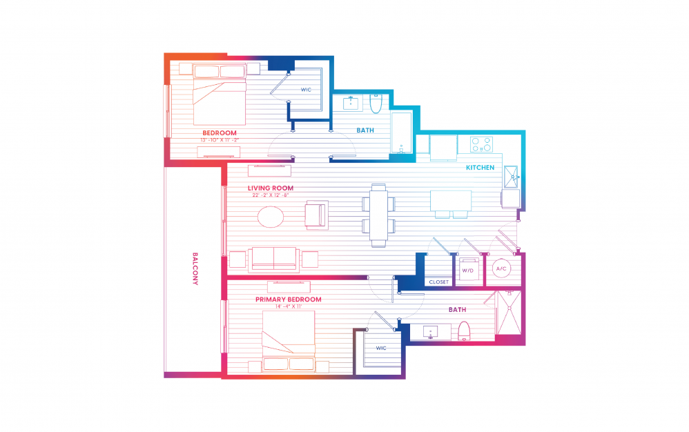 B8-N - 2 bedroom floorplan layout with 2 baths and 1133 square feet.