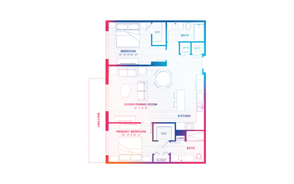 B8-S - 2 bedroom floorplan layout with 2 baths and 1156 square feet.
