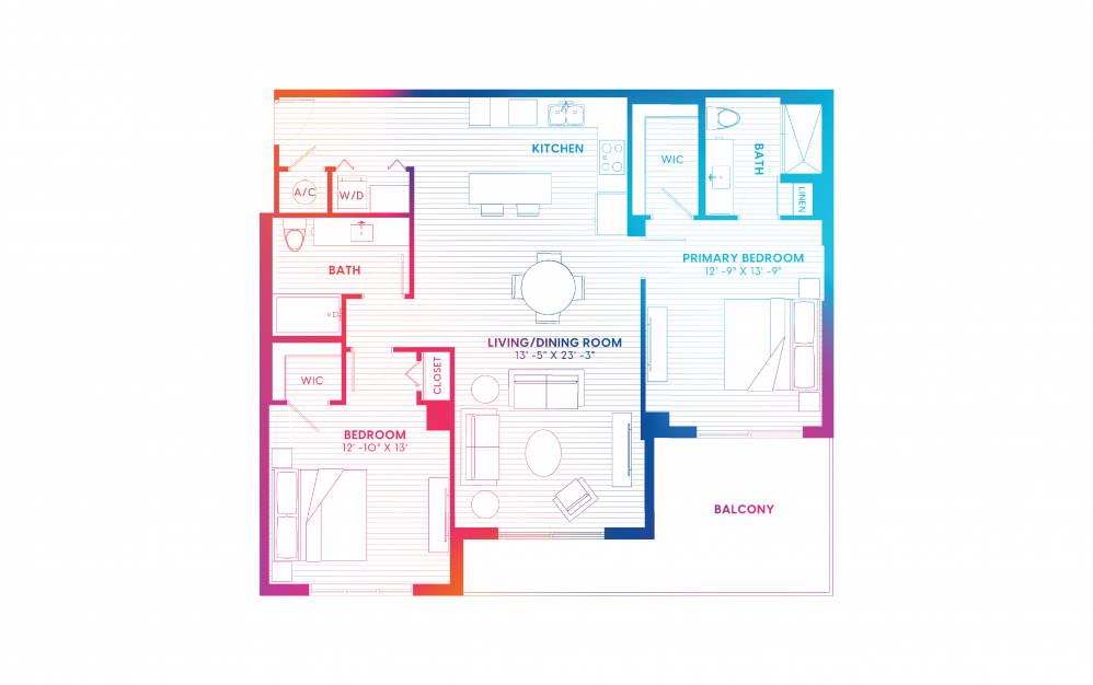 B9-S - 2 bedroom floorplan layout with 2 baths and 1258 square feet.