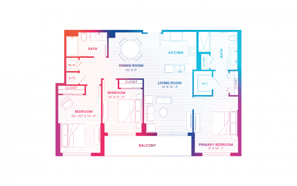 C1-S - 3 bedroom floorplan layout with 2 baths and 1288 square feet.