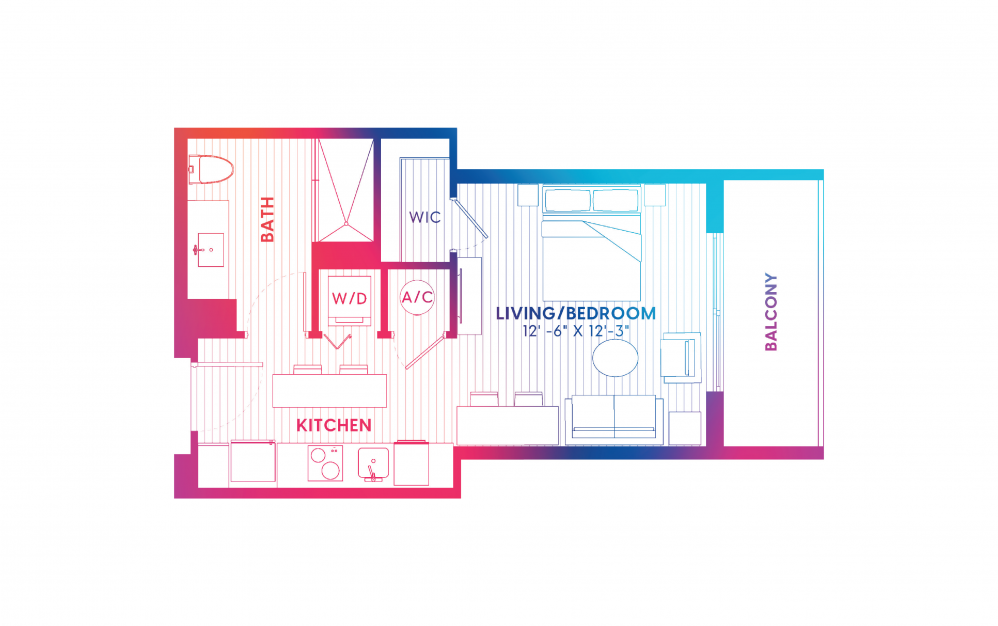 S2-S - Studio floorplan layout with 1 bath and 409 square feet.