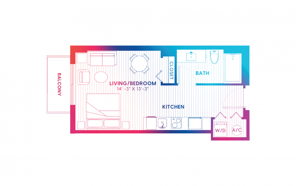 S3-S - Studio floorplan layout with 1 bath and 411 square feet.