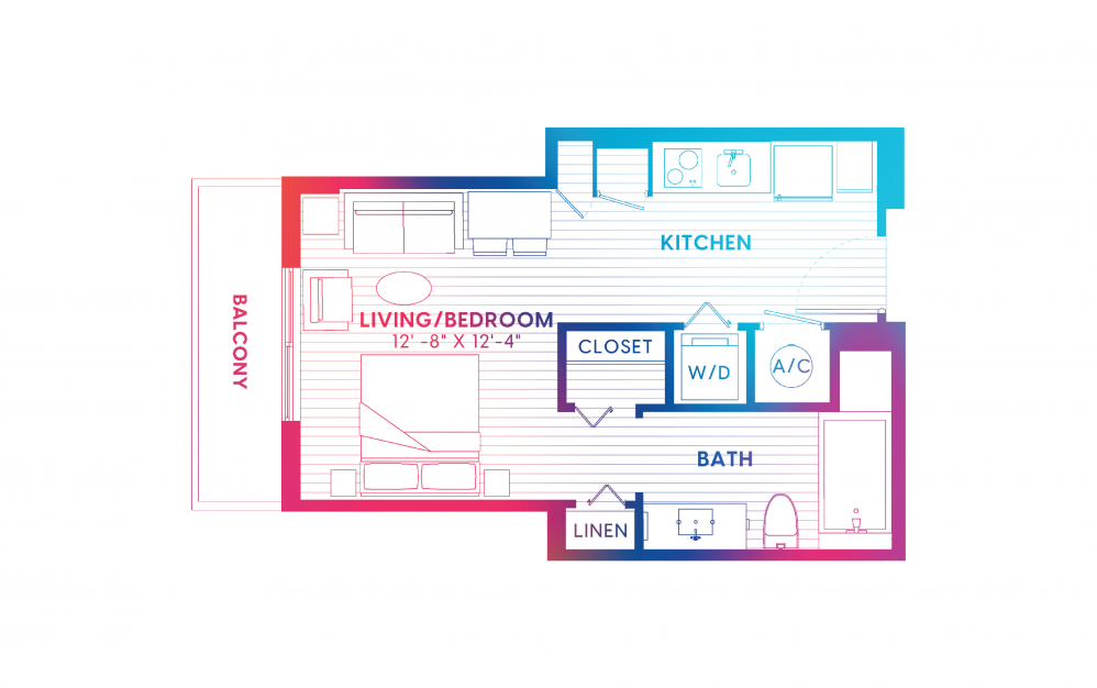 S5-S - Studio floorplan layout with 1 bath and 430 square feet.