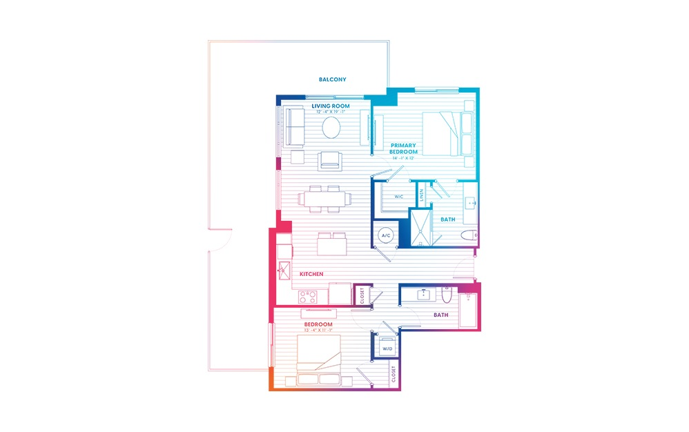 B2.1-N - 2 bedroom floorplan layout with 2 baths and 1080 square feet.